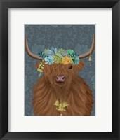 Framed Highland Cow Bohemian 1