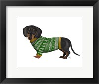 Framed Christmas Des - Dachshund and Christmas Sweater