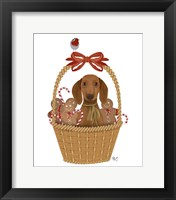 Framed Christmas Des - Dog in Basket with Gingerbread Men