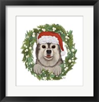 Framed Christmas Des - Husky Wreath
