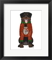Framed Christmas Des - Rottweiler in Christmas Sweater