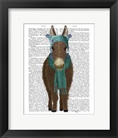 Framed Donkey Blue Hat and Scarf Book Print
