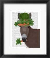 Framed Donkey Carrot Hat Book Print