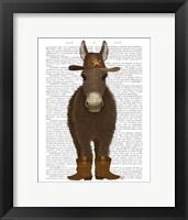 Framed Donkey Cowboy Book Print
