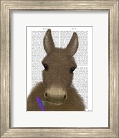 Framed Donkey Purple Flower Book Print