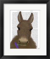 Framed Donkey Purple Flower Book Print