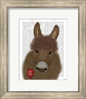 Framed Donkey Red Flower Book Print