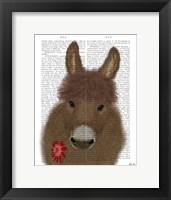Framed Donkey Red Flower Book Print