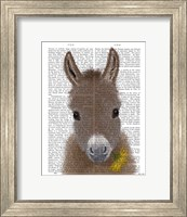 Framed Donkey Yellow Flower Book Print