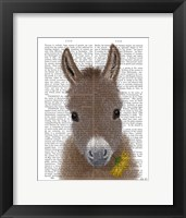 Framed Donkey Yellow Flower Book Print