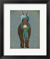 Framed Donkey Blue Hat and Scarf