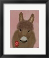 Framed Donkey Red Flower