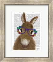 Framed Donkey Purple Flower Glasses Book Print