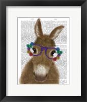 Framed Donkey Purple Flower Glasses Book Print