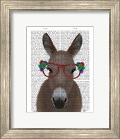 Framed Donkey Red Flower Glasses Book Print