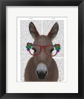 Framed Donkey Red Flower Glasses Book Print