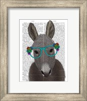 Framed Donkey Turquoise Flower Glasses Book Print