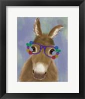 Framed Donkey Purple Flower Glasses