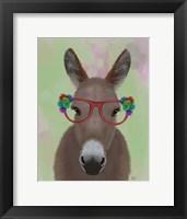 Framed Donkey Red Flower Glasses