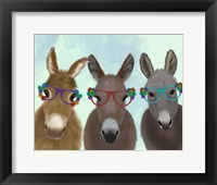 Framed Donkey Trio Flower Glasses