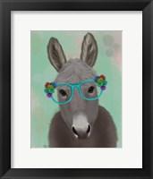 Framed Donkey Turquoise Flower Glasses