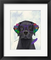 Framed Black Labrador and Flower Glasses