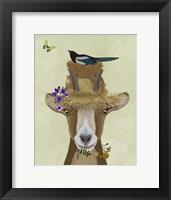 Framed Goat In Straw Hat