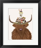 Framed Highland Cow and Ice Cream Hat