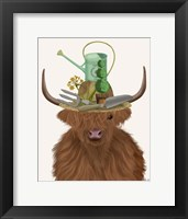 Framed Highland Cow and Gardeners Hat
