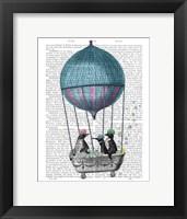 Framed Penguins in Balloon Bath Book Print