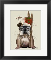 Framed English Bulldog, Skiing