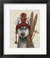 Framed Husky, Skiing
