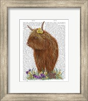 Framed Highland Cow, Pansy Book Print
