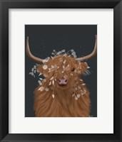 Framed Highland Cow 1, White Flowers