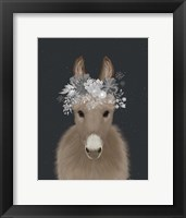 Framed Donkey White Flowers