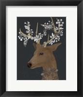 Framed Deer, White Flowers