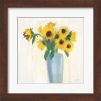 Framed Sunflowers in Blue
