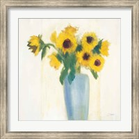 Framed Sunflowers in Blue