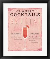 Framed Classic Cocktails Bellini Pink