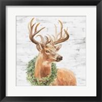 Framed Woodland Holidays Stag Gray
