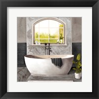 Framed Marble Bath I black & white