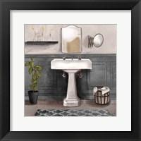 Framed Serene Bath I black & white