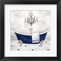Framed Navy Blue Bath II