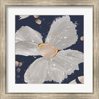 Framed Contemporary Floral Gray on Blue