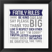Framed Family Rules II Blue Gray