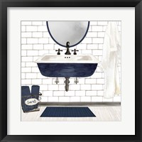 Framed Farmhouse Bath II Navy-Sink