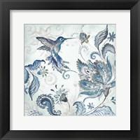Framed Watercolor Boho Blue Hummingbird I
