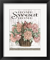Framed Home Sweet Home Peonies