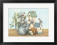 Framed Watering Can and Chickadees