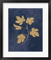 Framed Botanical Study III Gold Navy